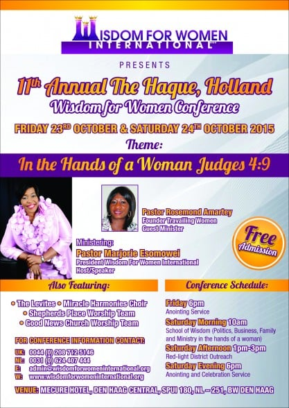 11th Annual The Haque, Holland Wisdom for Women Conference