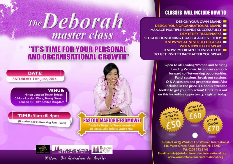 The Deborah Master Class @ Hilton London Tower Bridge | London | United Kingdom