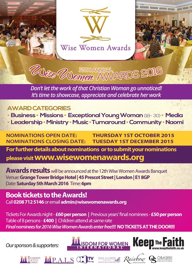 12th Annual Wise Women Awards @ Grange Tower Bridge Hotel, 45 Prescot Street, London E1 8GP | London | United Kingdom