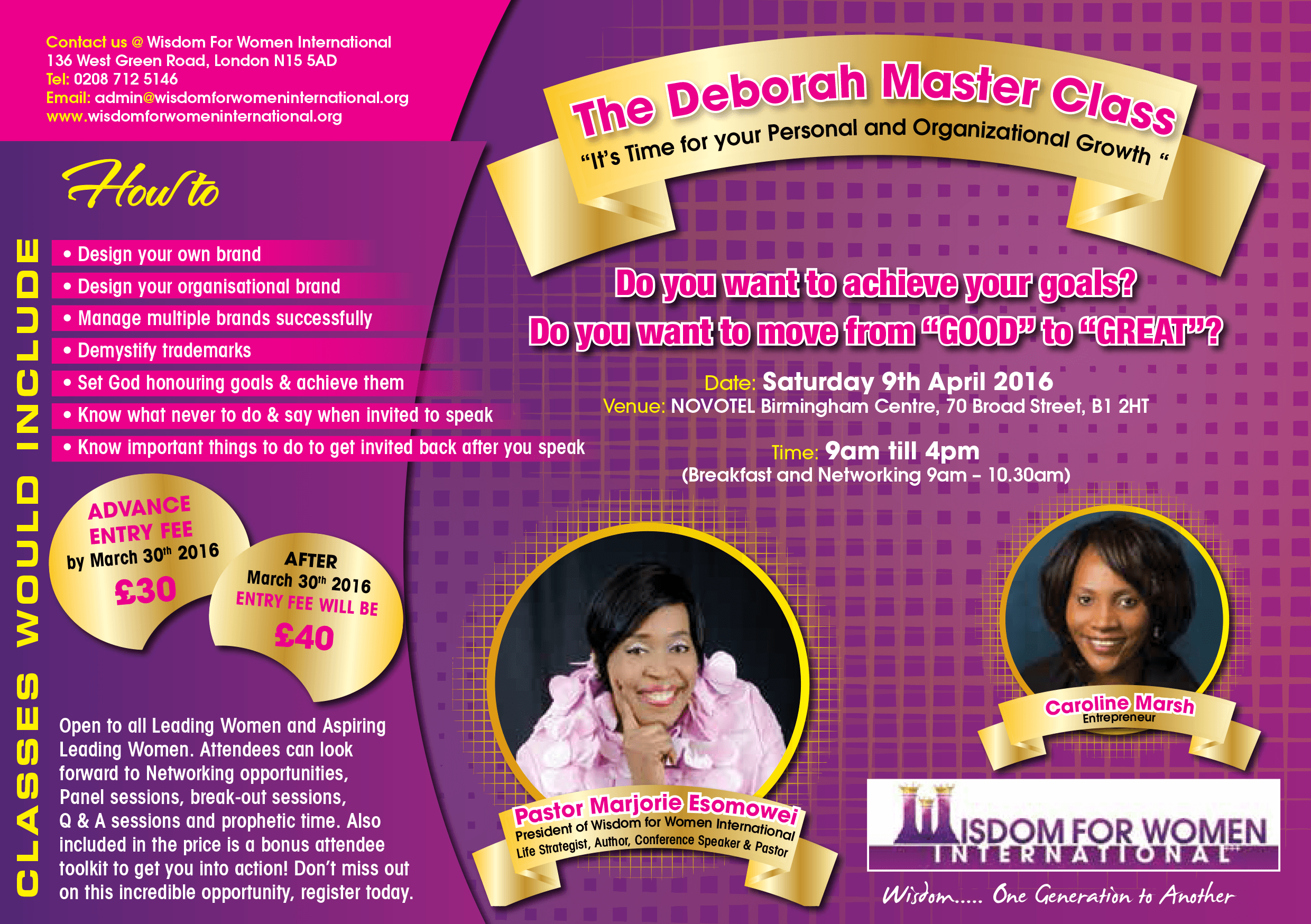 The Deborah Master Class @ Novotel Birminghan Centre | Birmingham | United Kingdom