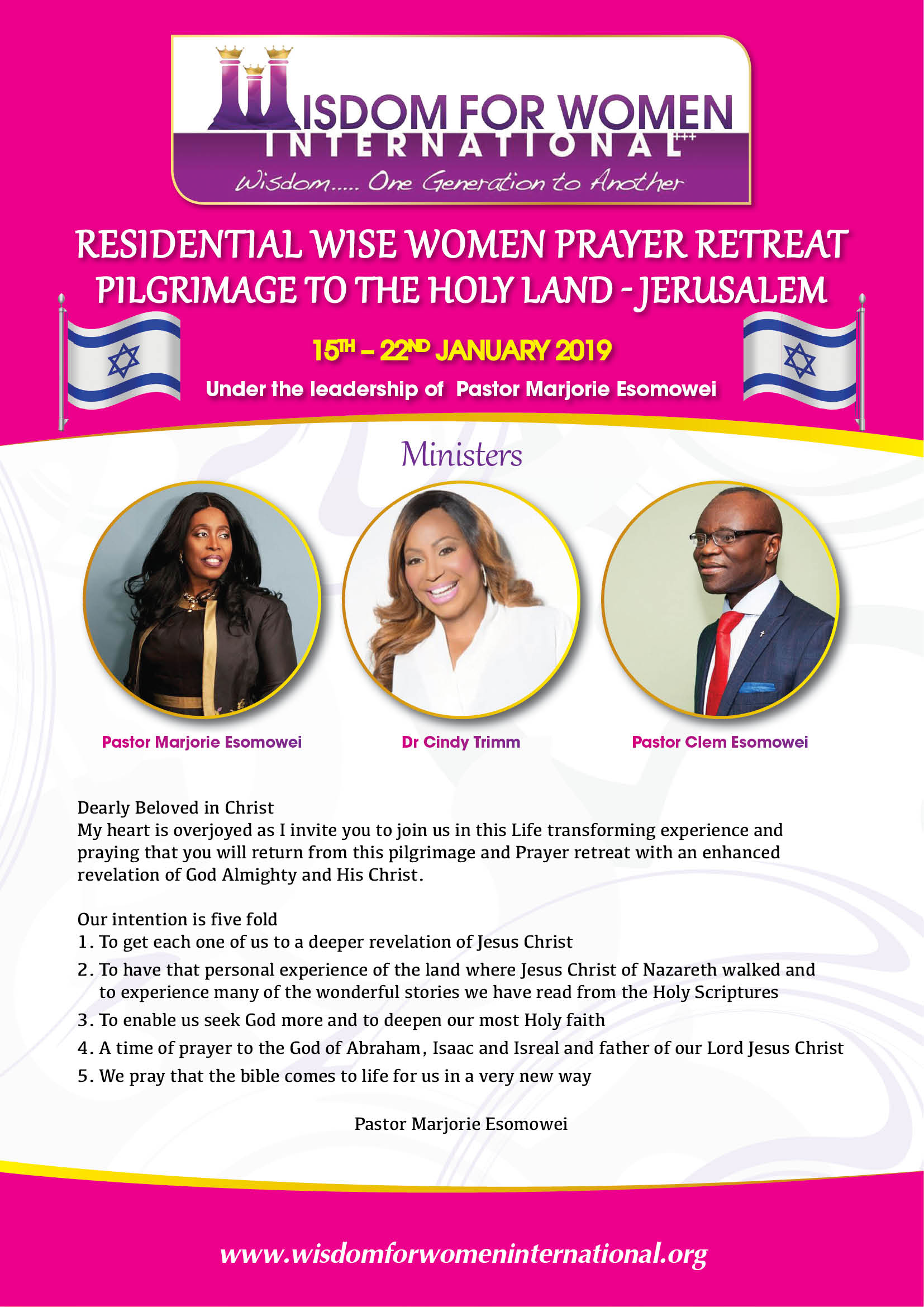 Residential Wise Women Prayer Retreat Pilgrimage to the Holy Land - Jerusalem